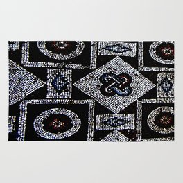 Black White Blue Red Mosaic Print Rug