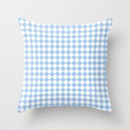 White and Baby Blue Diamonds Throw Pillow