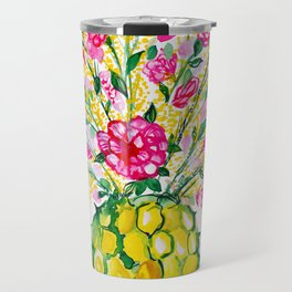 Watercolor Pineapple With Hot Pink Flowers Travel Mug