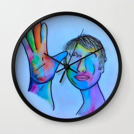 ASL Father in Blue Overtones Wall Clock