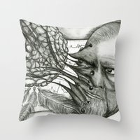freud Throw Pillows featuring Freud by CasiRodriguez