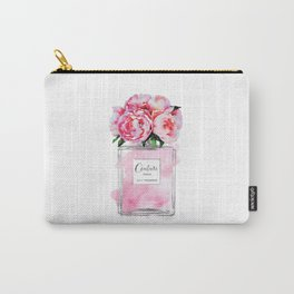 Perfume, watercolor, perfume bottle, with flowers, pink, Silver, peonies, Fashion illustration Carry-All Pouch