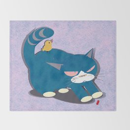 cat and bird Throw Blanket
