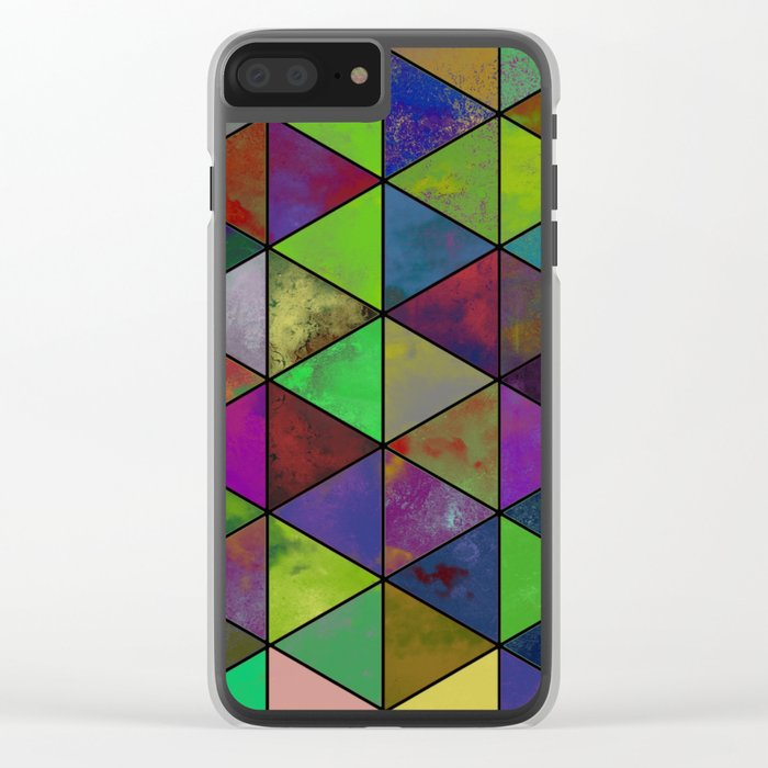 Textured Triangulation - Abstract, geometric triangles Clear iPhone Case