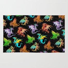 Colorful Rainbow Dragons School Rug