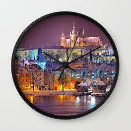 Prague-winte night Wall Clock