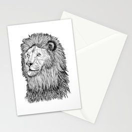 Abstract lion line drawing / black and white Stationery Cards