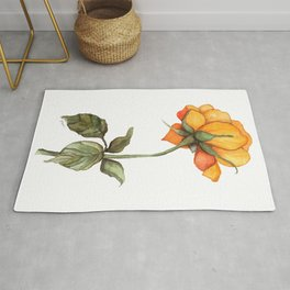 Yellow and Orange Handpainted Watercolor Rose Rug