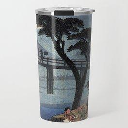 Hiroshige Man on horseback crossing a bridge Travel Mug