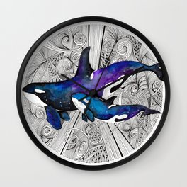 Space Orcas Wall Clock