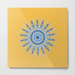 Gold Blue Aztec Mandala Design Metal Print