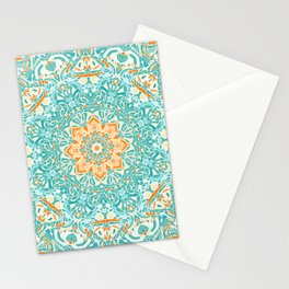 Orange and Turquoise Floral Mandala Stationery Cards