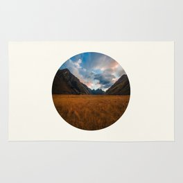 Mid Century Modern Round Circle Photo Graphic Design Autumn Fields With Steep Mountains Rug