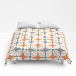 Mid Century Modern Star Pattern Grey and Orange Comforters