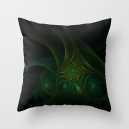 Green spiral fractal picture on the dark background Throw Pillow