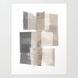"Grey and Beige Minimalist Geometric Abstract ""Building Blocks"" Art Print"