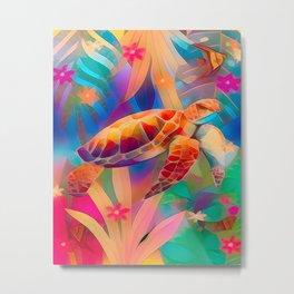 Sea Turtle Fantasy Scene Metal Print