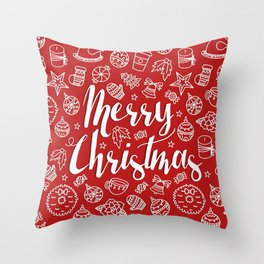 MERRY CHRISTMAS! - Red Pattern Throw Pillow