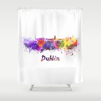 dublin Shower Curtains featuring Dublin skyline in watercolor by Paulrommer