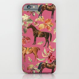 HORSES & Raspberry Sorbet backgroud  iPhone Case