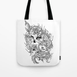 Scorpio Skull Zodiac Sign For October and November Birth Day Gift Tote Bag