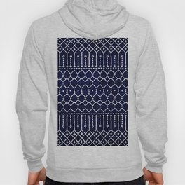 N84 - Indigo Dark Calm Blue Color Traditional Moroccan Farmhouse Style Design Hoody