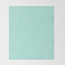 Tiffany Aqua Blue And White Hounds-tooth Check Throw Blanket