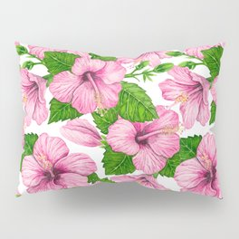 Pink hibiscus watercolor pattern Pillow Sham