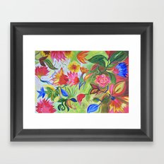 Pastel Flower Swirls Framed Art Print