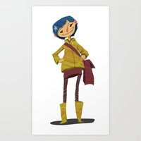 coraline Art Prints featuring Coraline by Cherylynn Lima
