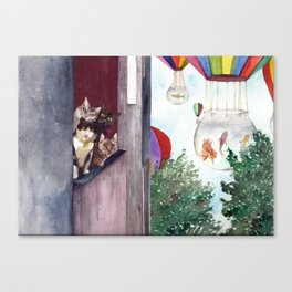 Gatitos en ventana Canvas Print