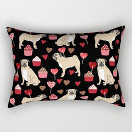 Pug valentines day cupcakes love hearts dog breed pure breed pugs Rectangular Pillow
