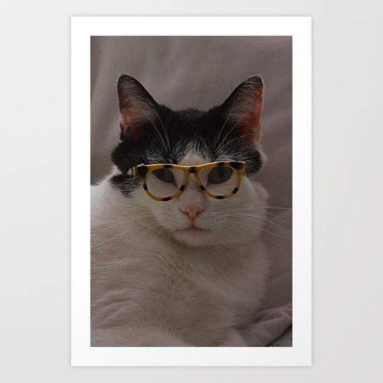 My Kitty Wears Glasses Art Print