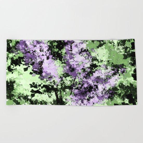 LILACS WATERCOLOR  (abstract) Beach Towel