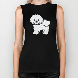 Cute White Bichon Frise Dog Cartoon Illustration Biker Tank