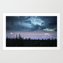Mount Rainier's Moon Art Print