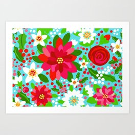 Christmas Poinsettia Rose Holly Floral, red rose, holly, holiday flowers, christmas flowers, holiday Art Print