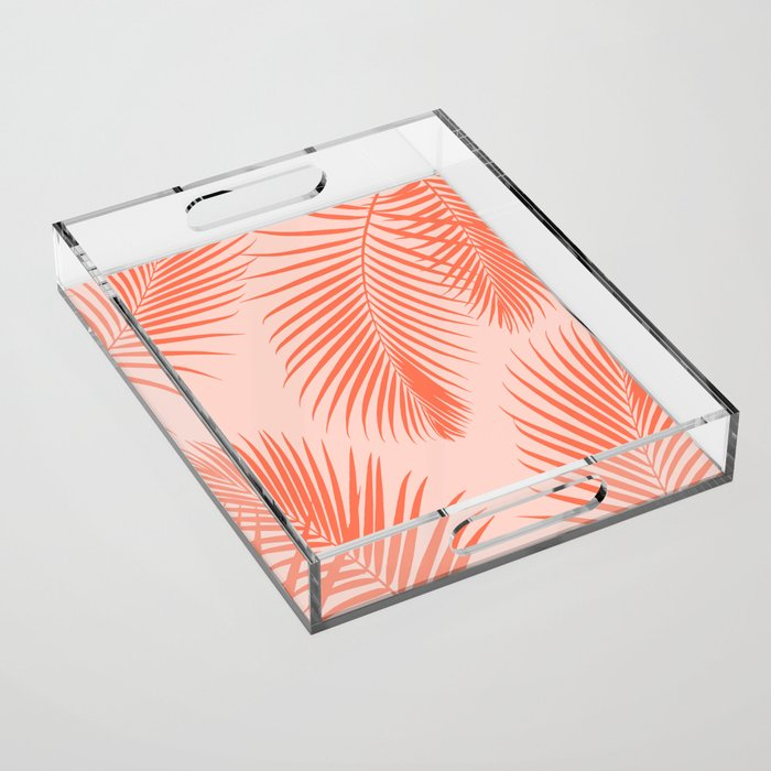 Coral Palms ~ Summer Tropical Pattern Acrylic Tray