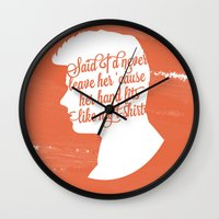 liam payne Wall Clocks featuring Liam Payne Silhouette   by Holly Ent