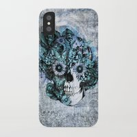 ohm iPhone & iPod Cases featuring Blue grunge ohm skull by Kristy Patterson Design