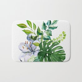 Flower and Leaves Bath Mat