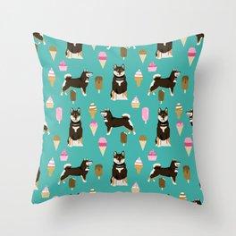 shiba inu black and tan ice cream dog breed pet pattern dog mom Throw Pillow