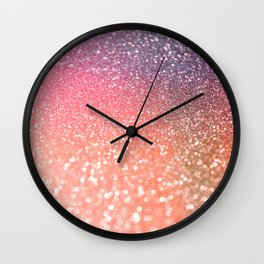 Rose Gold Peach Glitter Blush Wall Clock