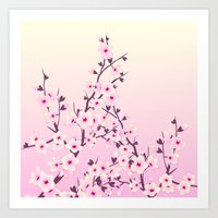 cherry blossoms Art Prints featuring Cherry Blossoms by Nina Baydur