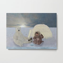 Inuit and Polar bear; Fishing. Metal Print