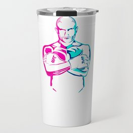 The Rebel Gokhan Saki Pink Blue Vector Art Style MMA T-Shirt & Apparel Travel Mug