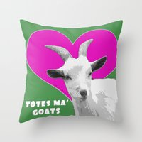 totes Throw Pillows featuring Totes Ma Goats Pink by BACK to THE ROOTS