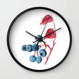 Watercolor Blueberries Wall Clock