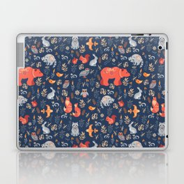 Fairy-tale forest. Fox, bear, raccoon, owls, rabbits, flowers and herbs on a blue background. Seamle Laptop & iPad Skin