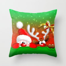 Funny Christmas Santa and Reindeer Cartoon Throw Pillow